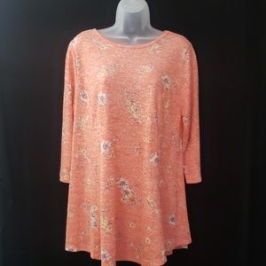 Bobeau | Tunic | Orange/White/Floral | Size 1X